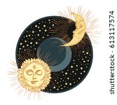 sun and moon with face stylized ... | Shutterstock .eps vector #613117574