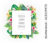 tropical summer banner template.... | Shutterstock .eps vector #613119473