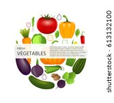 healthy vegetables such as ... | Shutterstock .eps vector #613132100