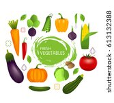 healthy vegetables such as ... | Shutterstock .eps vector #613132388