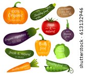 set of vegetables labels with... | Shutterstock .eps vector #613132946