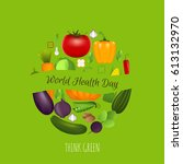 world health day concept with... | Shutterstock .eps vector #613132970