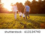 family running together family... | Shutterstock . vector #613134740