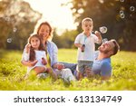 parents with children having... | Shutterstock . vector #613134749