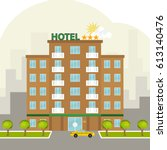 hotel  three star hotel. flat... | Shutterstock .eps vector #613140476
