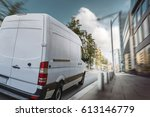 delivery van drives through a... | Shutterstock . vector #613146779
