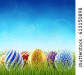 background for easter holiday ... | Shutterstock .eps vector #613150898