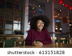 cheerful afro american female...   Shutterstock . vector #613151828