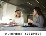 female copywriters having... | Shutterstock . vector #613154519