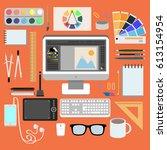 flat design style modern vector ...   Shutterstock .eps vector #613154954