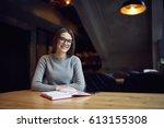 portrait of pretty smart...   Shutterstock . vector #613155308
