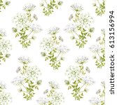 watercolor floral pattern  wild ... | Shutterstock . vector #613156994