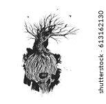 fantastic skull tree roots and... | Shutterstock .eps vector #613162130