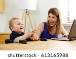 portrait of single mother... | Shutterstock . vector #613165988