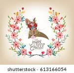 happy easter card template ... | Shutterstock . vector #613166054