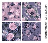 elegant seamless patterns with...   Shutterstock .eps vector #613166084
