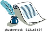 ancient parchment next to a... | Shutterstock .eps vector #613168634