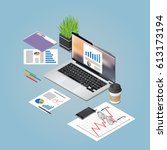 vector isometric concept... | Shutterstock .eps vector #613173194