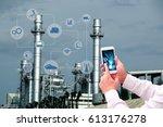 industry 4.0 concept image.oil ... | Shutterstock . vector #613176278