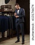 elegant young handsome man in... | Shutterstock . vector #613176674