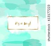 baby boy birth announcement...   Shutterstock .eps vector #613177223
