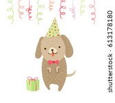 cute dog in a hat with gift on... | Shutterstock .eps vector #613178180