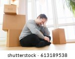 worried and frustrated young... | Shutterstock . vector #613189538