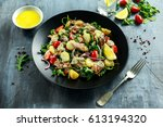 smoked mackerel salad with warm ... | Shutterstock . vector #613194320