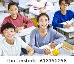 asian grade school students... | Shutterstock . vector #613195298