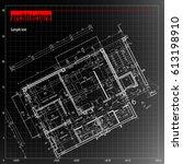 architecture grid blueprint...   Shutterstock .eps vector #613198910