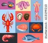 background with various seafood....   Shutterstock .eps vector #613199210