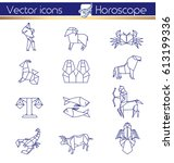 origami horoscope  line vector... | Shutterstock .eps vector #613199336