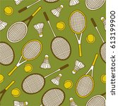 seamless pattern with sports... | Shutterstock .eps vector #613199900