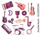 musical instruments cartoon... | Shutterstock .eps vector #613205204