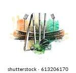 cricket stadium with ball bell... | Shutterstock .eps vector #613206170