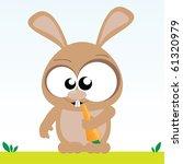 vector bunny eats carrot | Shutterstock .eps vector #61320979