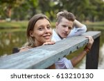 young couple male and female... | Shutterstock . vector #613210130