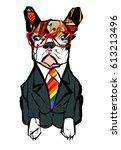 portrait of french bulldog... | Shutterstock .eps vector #613213496