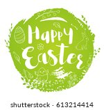 abstract round green easter... | Shutterstock .eps vector #613214414