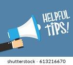 hand holding megaphone  ... | Shutterstock .eps vector #613216670