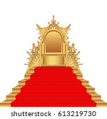 throne of gold  with red carpet ... | Shutterstock .eps vector #613219730