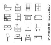 furniture icons set. flat... | Shutterstock .eps vector #613223630