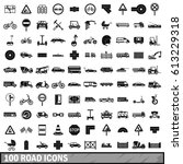 100 road icons set in simple... | Shutterstock . vector #613229318