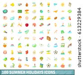 100 summer holidays icons set... | Shutterstock . vector #613229384