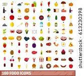 100 food icons set in flat... | Shutterstock . vector #613230398