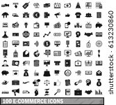 100 e commerce icons set in... | Shutterstock . vector #613230860