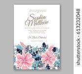 peony wedding invitation... | Shutterstock .eps vector #613232048