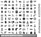 100 auto service icons set in... | Shutterstock . vector #613232543