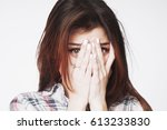 portrait of a young woman... | Shutterstock . vector #613233830