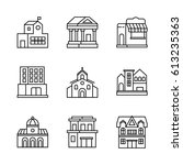 building icons set.  | Shutterstock .eps vector #613235363